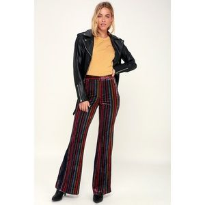 🆕 Rainbow Multi Stripe Velvet Bell Bottom Pants